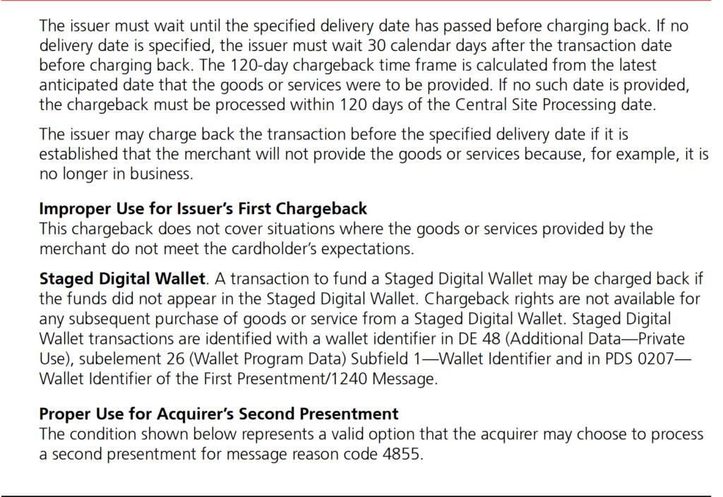 chargeback mastercard сроки